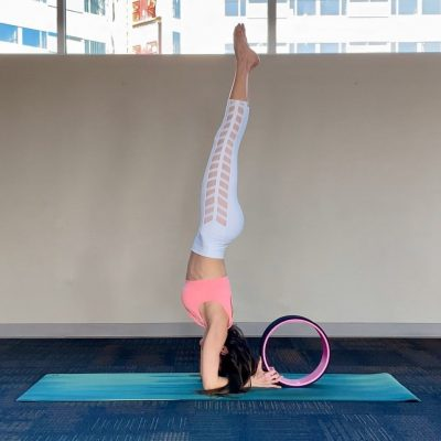 yoga wheel headstand
